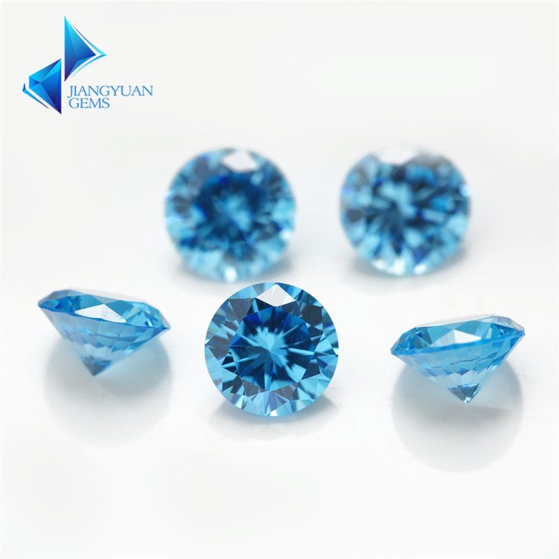 1~3mm  AAAAA Round Cut CZ Stone  European Machine Cut Middle SeaBlue Synthetic Gems Zirconia Stone