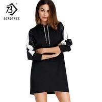 2017 Autumn Europe And America Style Women Fleece Black Dress Straight Hooded Above Knee Dresses Long