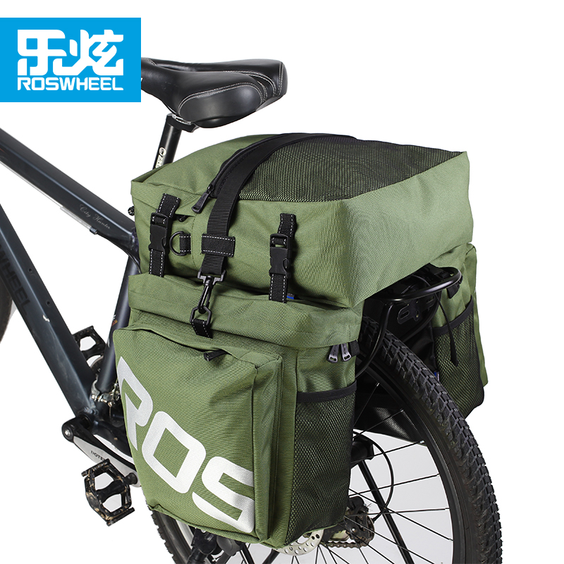 Roswheel 3 in 1 37L bicycle bag mtb bike cycle cycling bag trunk pannier rack packing bycicle bags accessories wheel up bicycle rear seat trunk bag full waterproof big capacity 27l mtb road bike rear bag tail seat panniers cycling touring