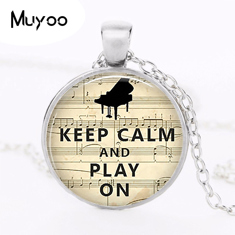 Keep Calm and Play on Necklace Music Teacher Piano Pendant Pianist Gift Art Glass Cabochon Christmas Gift Fashion Jewelry HZ1