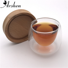 Arshen 1 Набор 80 мл Посуда с двойными стенками Изолированная чашка с бамбуковыми подстаканниками ручной работы термостойкий чай напиток здоровый кофе чашки