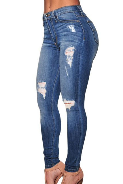 2017 Casual Clothing Jeans Imitated pants female leggins fitness womenDenim Destroyed Skinny Jeans Plus size XL trousers LC78637