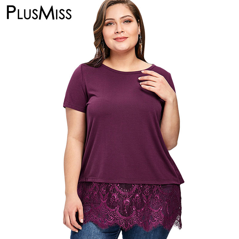 PlusMiss Plus Size 5XL Lace Peplum Insert Sexy Top Tee Women Clothing Large Size Short Sleeve