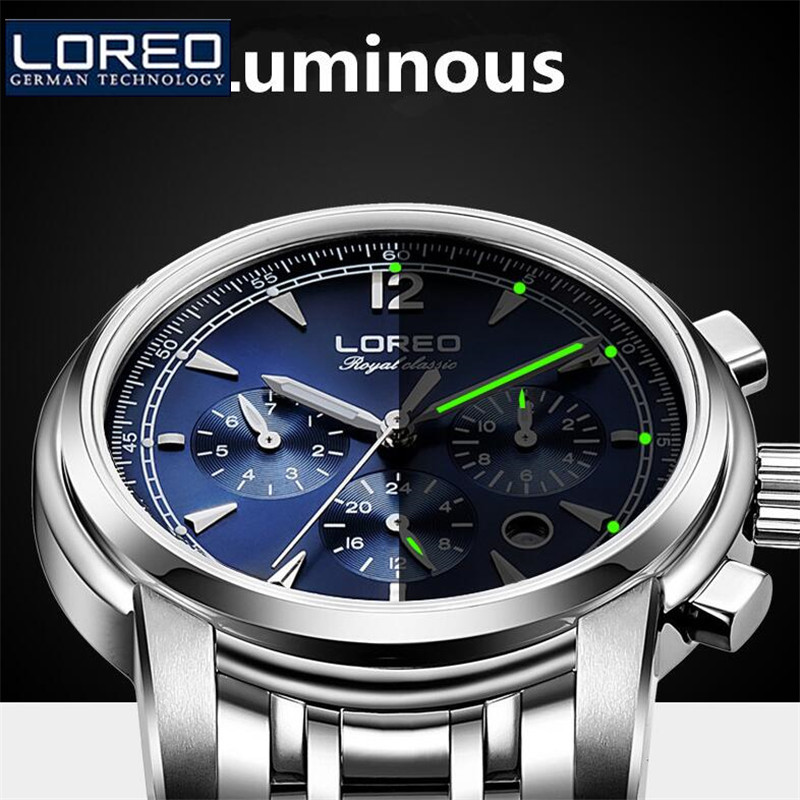 LOREO Fashion Men Stainless Steel Erkek Kol Saati Luminous Watch Automatic Mechanical Wristwatches Gift Box Relogio Releges J96 стоимость