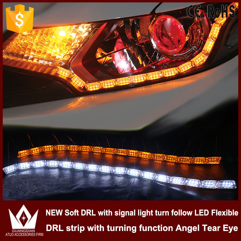 GuangDian 1 Set 8w Crystal Angel Tear Eyes Daytime running light with signal light turn flow DRL LED Flexible side Strip Lights 6pcs 60cm flexible tear strip switchback daytime running light drl with turn signal light 7 dual color fd 4767