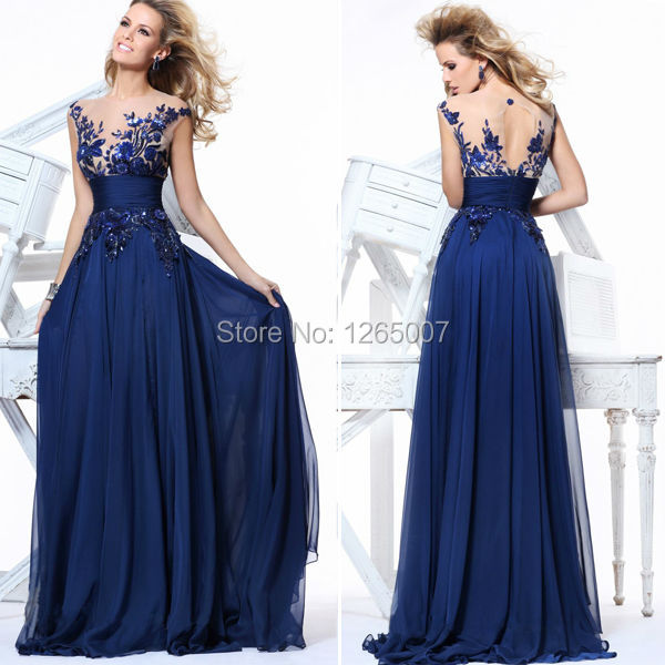 Fashion Hot V Neck Lace Top Sequins Chiffon A Line Blue Long Prom ...