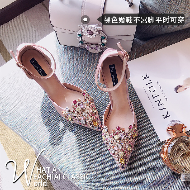 2017 new diamond wedding shoes female stiletto heels crystal shoes red heels bride shoes new pink red rhinestone diamond bride s shoes super high heels crystal bowl wedding shoes elegant sandals female pumps feminina
