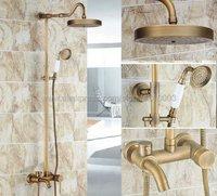 Antique Brass Shower Faucets Shower Set Faucet Tub Mixer Tap Handheld Shower Wall Mounted Rainfall Bath Shower Krs228