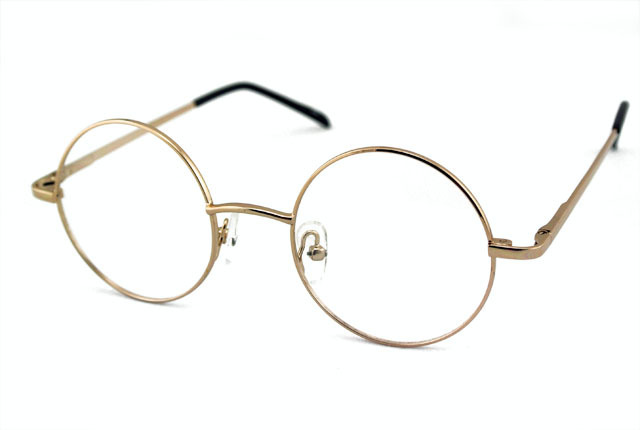 6cac0f4d61b46 Vintage Round 42mm Eyeglass Frame FULL-RIM Spring Hinge GOLD Glasses Retro  Brand New RX