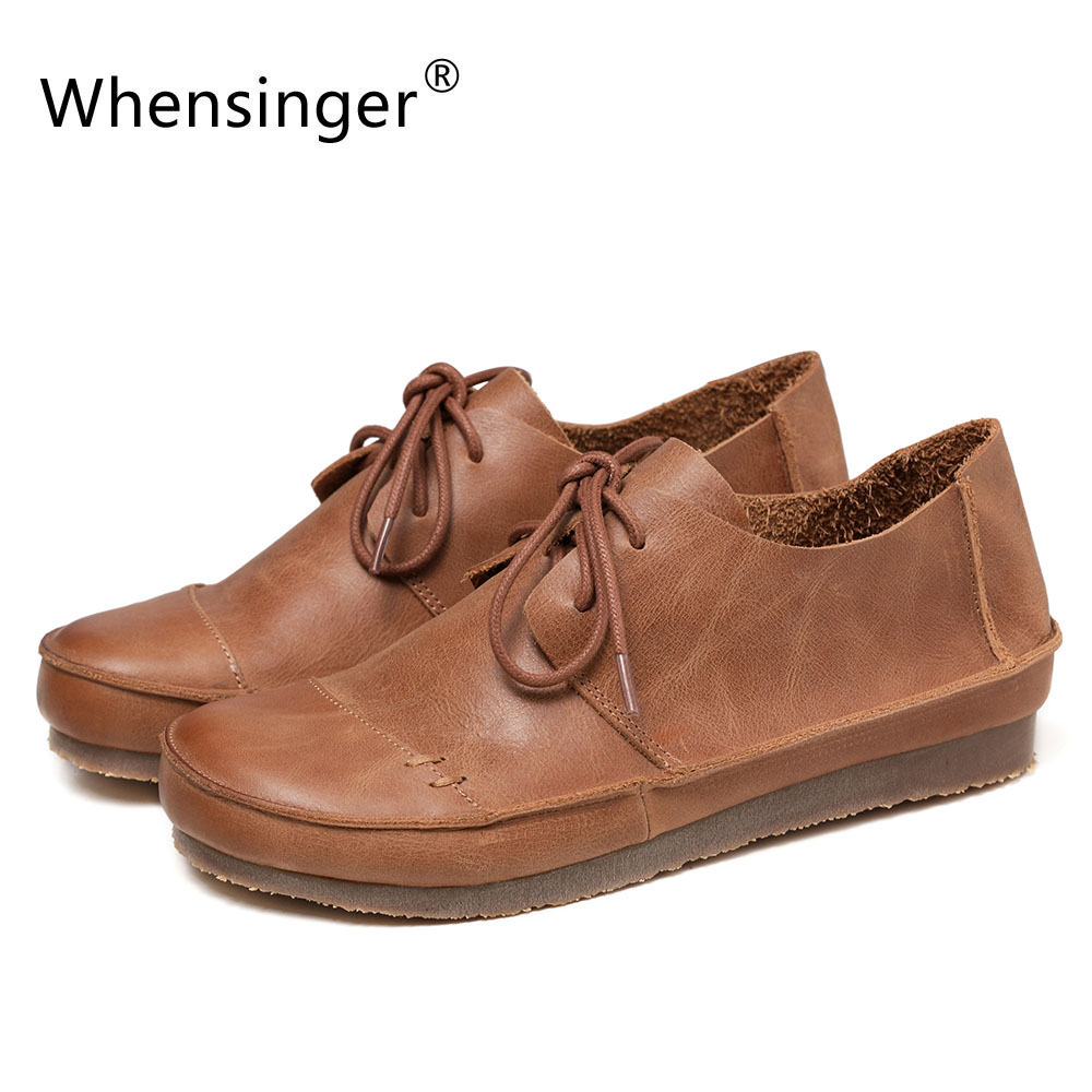 Whensinger - 2017 New Arrival Women Shoes Retro Fashion Design Genuine Leather Flats T710 whensinger 2017 new women fashion boots genuine leather fashion shoes rubber sole hands sewing 2 color 7126
