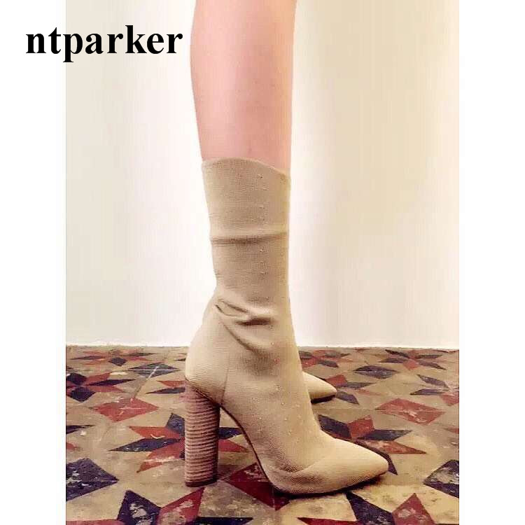ФОТО Fashion Stretch Fabric Short Booties Chunky High Heel Shoes Woman Pointed Toe Ankle Boots Knit Sock Botines Mujer Women Pumps