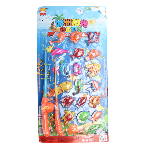 20pcs Fish 2pcs Fishing Rod Kids Magnetic Magnet Fishing Toy Kid Children Bath Eearly Educational Fishing Game Toys