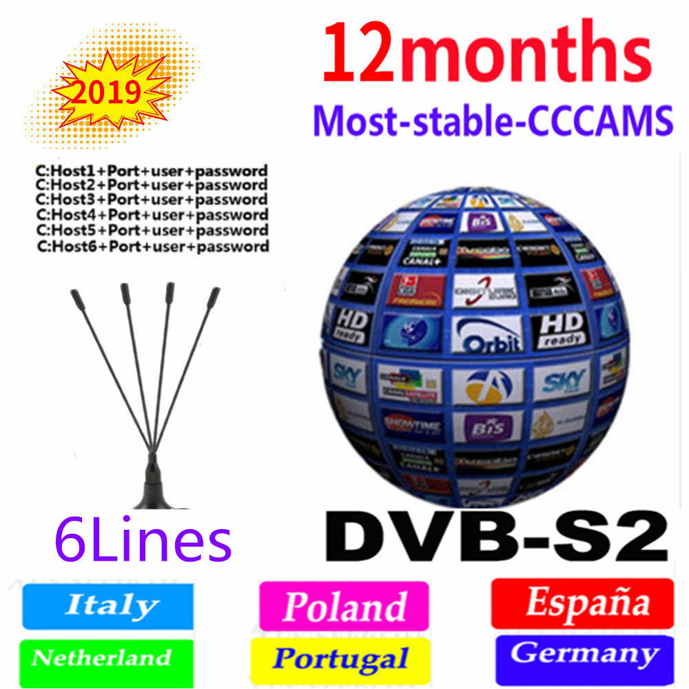 Spain Receptor Cccams lines for 1 year spain used for DVB-S2 Ccams satellite receiver europe channels 6 lines Poland