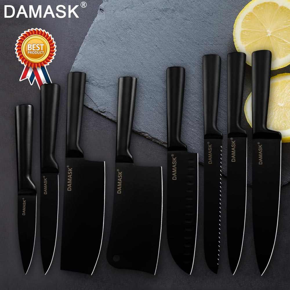 Damask Japanese Kitchen Knives Set Chef Knife Sharp Santoku Cleaver Bread Slicing Utility Paring Nakiri Chopping Kitchen Tools