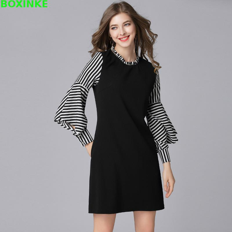Vadim Promotion A line Full Robe Women Dress New Fashion Stitching Spring Fat Sister Lotus Temperament In The Long Sleeve in Dresses from Women 39 s Clothing