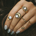Knuckle Ring Set Antique Gold Silver Color Midi Mid Finger Rings Women Men Cat's Eye Link Chain Hollow Flower Moon Sun Jewelry
