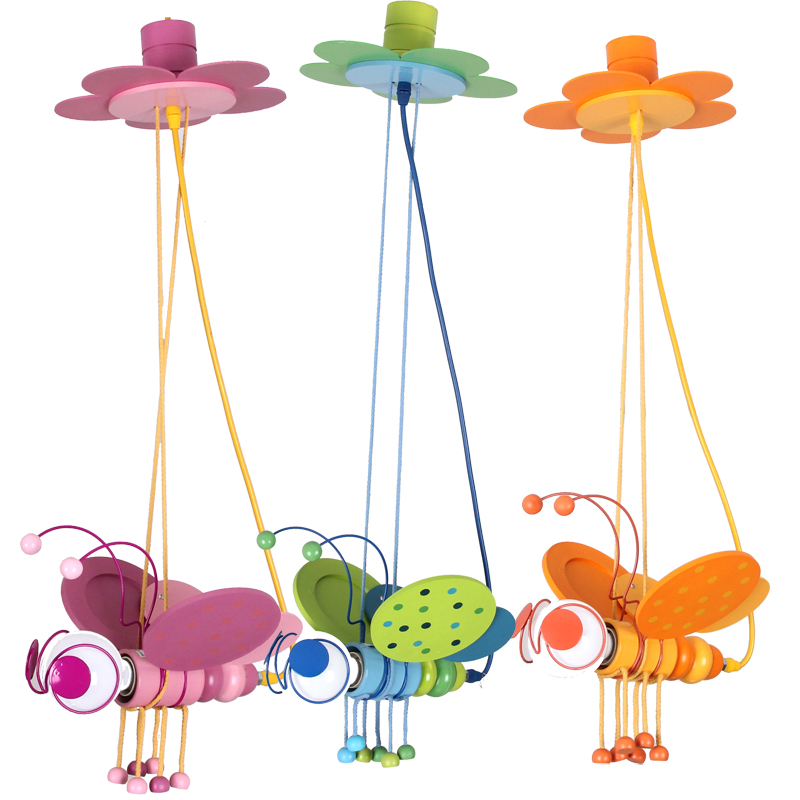 small bee Children toy modern pendant lights cartoon child real pendant lamps pink green yellow ZZP