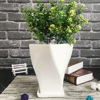 Large Diamond Ceramic Flower Pot Extra Green Flower Pot White Simple With Tray succulents Flower Pot Home Decorative