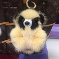 Real Mink fur keychains Bear Plush Raccoons Key Chain Charm Luxury Cute Bag Wallet Pendants Charm Accessory Fluffy Car Key Ring