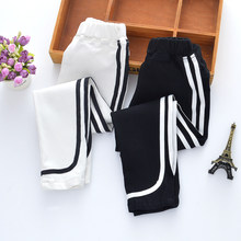 Casual 2019 Girls Pants Spring Autumn Children Solid Trousers Cotton Kids White Leggings Teenage School Long Pants 3-15Y Clothes