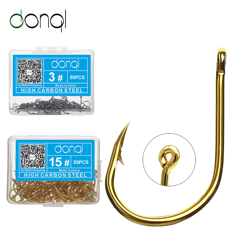 DONQL 50pcs/ Box Single Circle Fishing Hooks Set Carbon Steel Fishhook Jig Barbed Carp Fly Fishing Hooks Sea Tackle Accessories