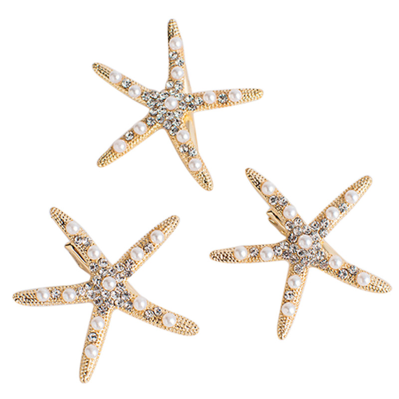 1 Pcs Starfish Hair Clip With Crystal Pearl Fashion Lady Girl Beach Wedding Natural Hairpin