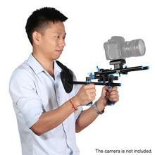 Barra deslizante de doble mano, soporte para agarre de vídeo, soporte de hombro, estabilizador con montaje de tornillo para videocámara de cámara DSLR
