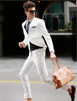 White Men Suits One Button Fashion Tuxedos Custome Homme Terno Masculino Jacket Pant Tie Vent Handkerchiefs