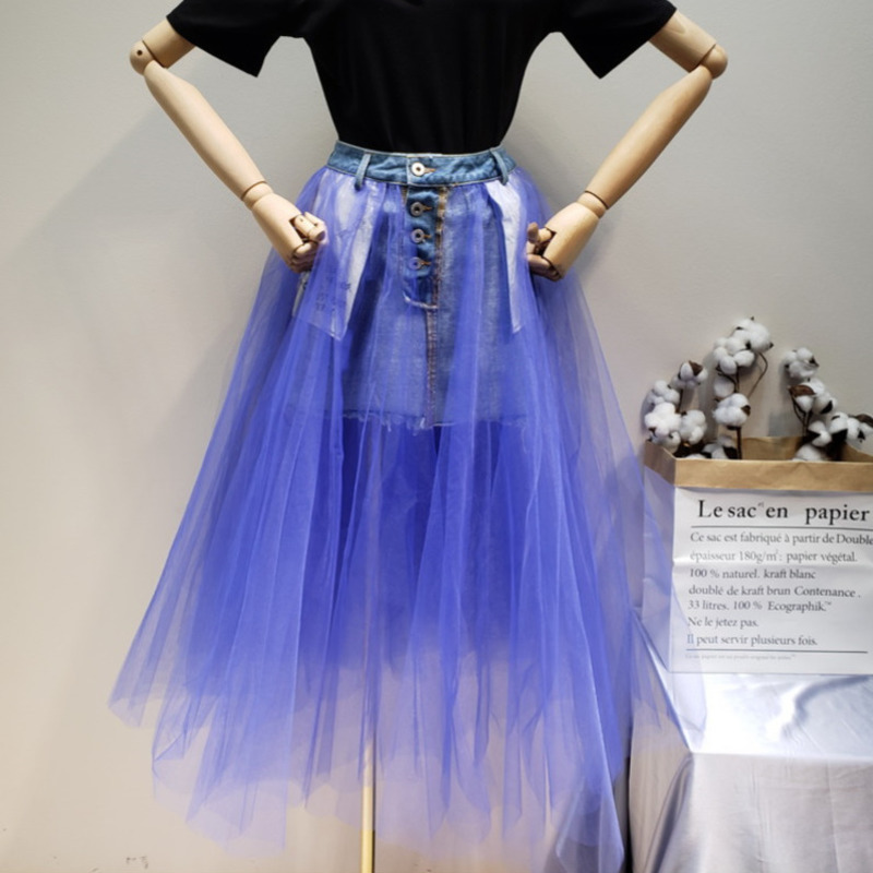 LANMREM 2019 Spring And Summer Street Wearing Two Way Wears Fluffy Mesh Patchwork Denim Skirts All
