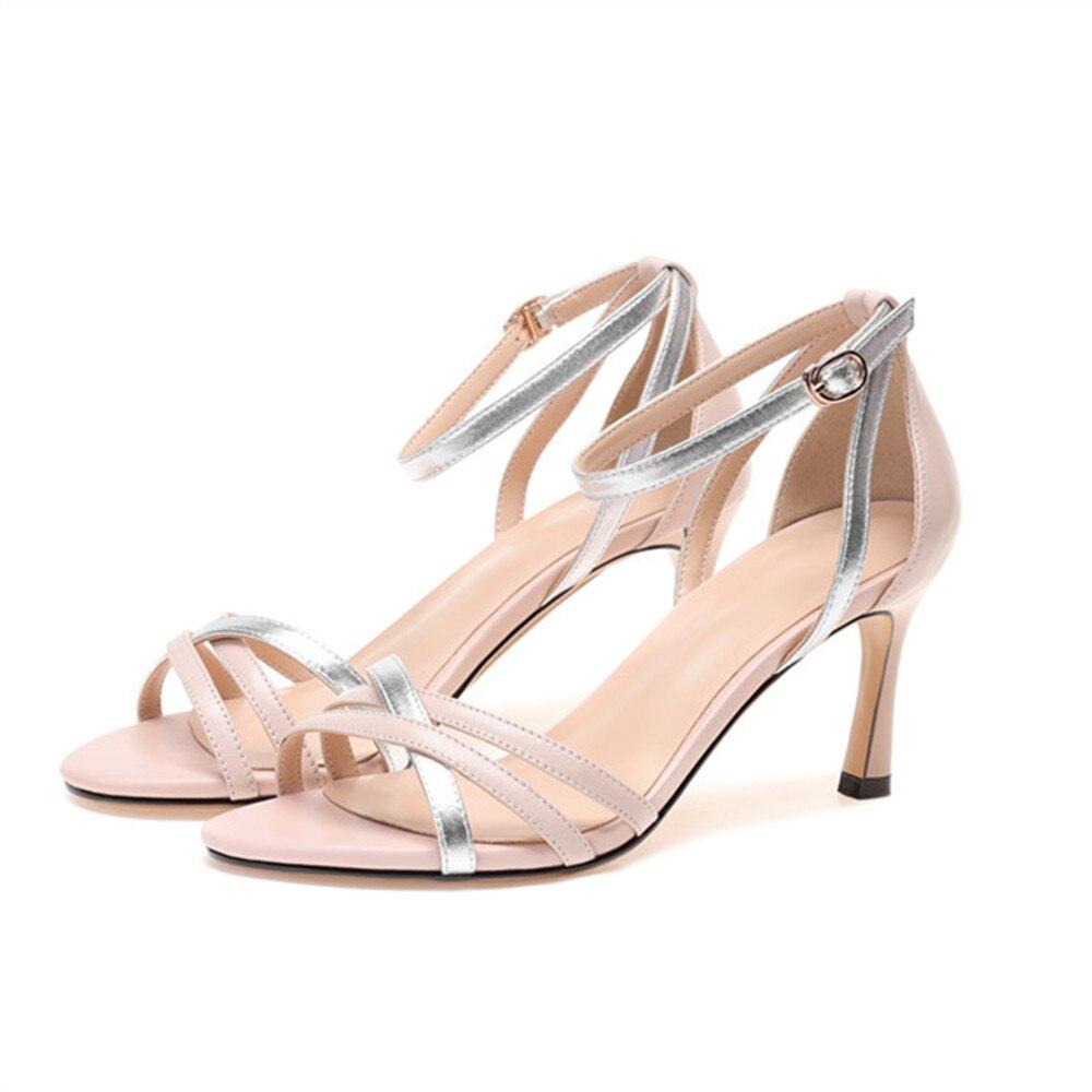 Fino Tacón Negro Talón Cuero Verano Mujeres Mujer Alto rosado Genuino Colores Sandalias Nuevos Masgulahe Negro De Rosa Zapatos Mezclados A0dqFwFOx