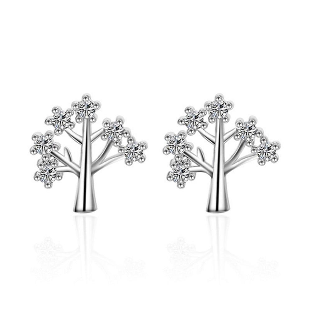 Brand jewelry fashion Ladies Saint Jerry Tree Stud Earrings Elegant Lovely Luxury Crystal Stud Earrings Women 's Jewelry 9MM