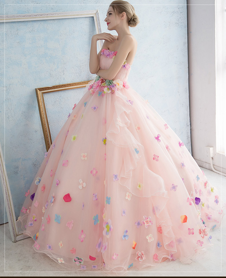 ᗐColorido flor Hada Rosa bola princesa vestido medieval vestido ...