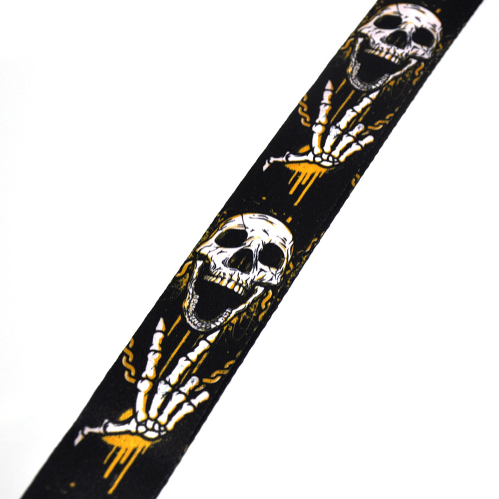 Купить с кэшбэком 133cm Long 5cm Wide Skull Palm Guitar Bass Strap Polyester w/ Leather Head Adjustable