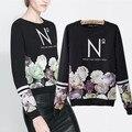 Мода Европейский и Американский Стиль Печати Случайные Женщины Пуловеры Толстовки С Длинным рукавом женский размер S, M, L