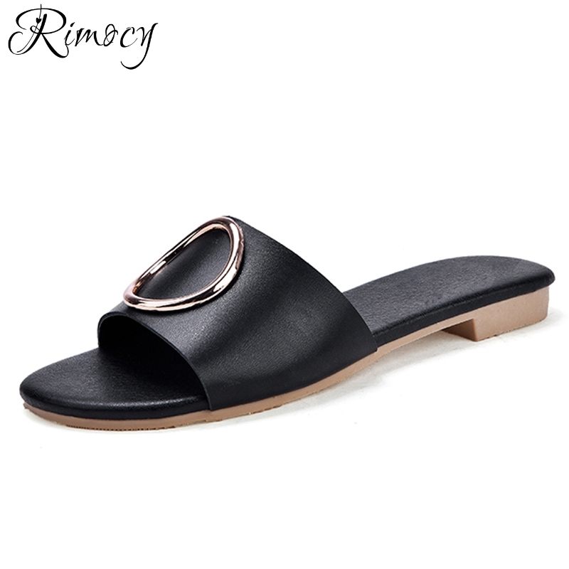 Rimocy 2018 summer women slippers flat shoes beach flip flops women soft leather slides ladies comfortable flats with slippers instantarts women flats emoji face smile pattern summer air mesh beach flat shoes for youth girls mujer casual light sneakers