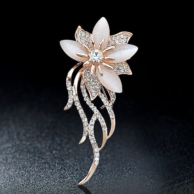 Opal Stone Flower Brooch