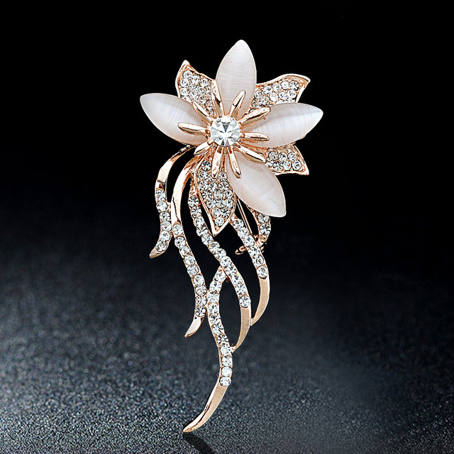 Opal  Rhinestone Flower Brooches For Women