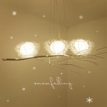 цена LED living room chandelier bedroom lighting fixtures Nordic illumination Modern deco hanging lights Bird's Nest suspended lamps онлайн в 2017 году