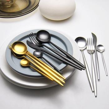 4Pcs/set Stainless Steel Black Dinnerware Set Gold Cutlery Set Fork Knife Scoops Wedding Silverware Set Drop Shipping