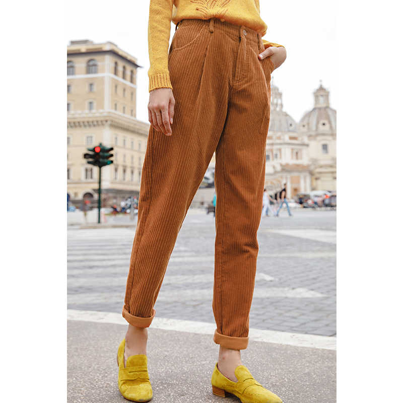 INMAN 2019 Spring Autumn New Arrival Cotton Elastic Corduroy Women Harem Pants