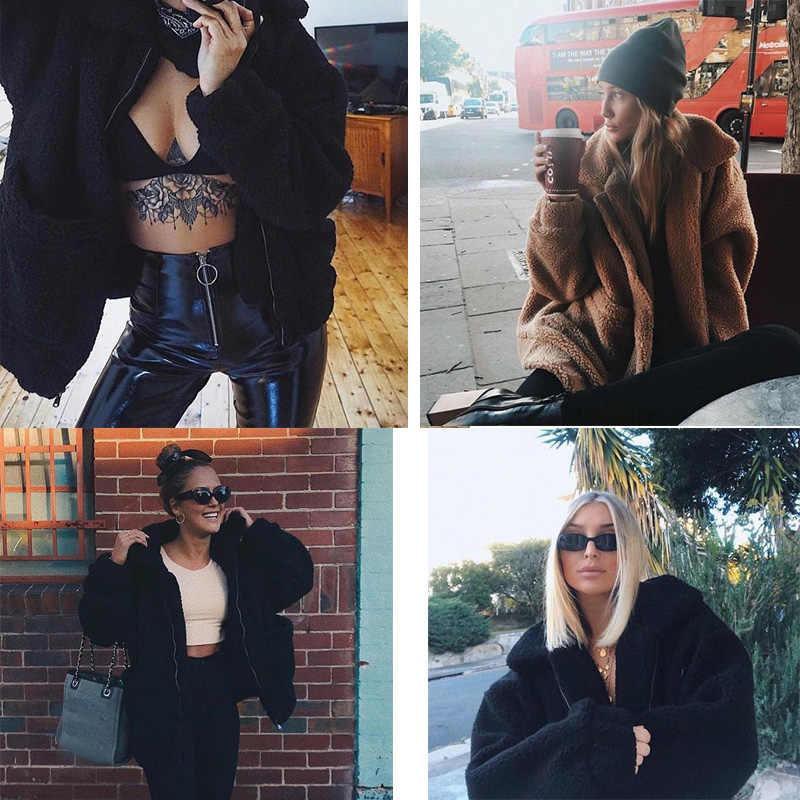 Элегантный костюм из искусственного меха пальто Для женщин 2019 осень-зима теплый мягкий молния Меховая куртка Женская Плюшевые пальто Повседневное верхняя одежда; оптовая продажа