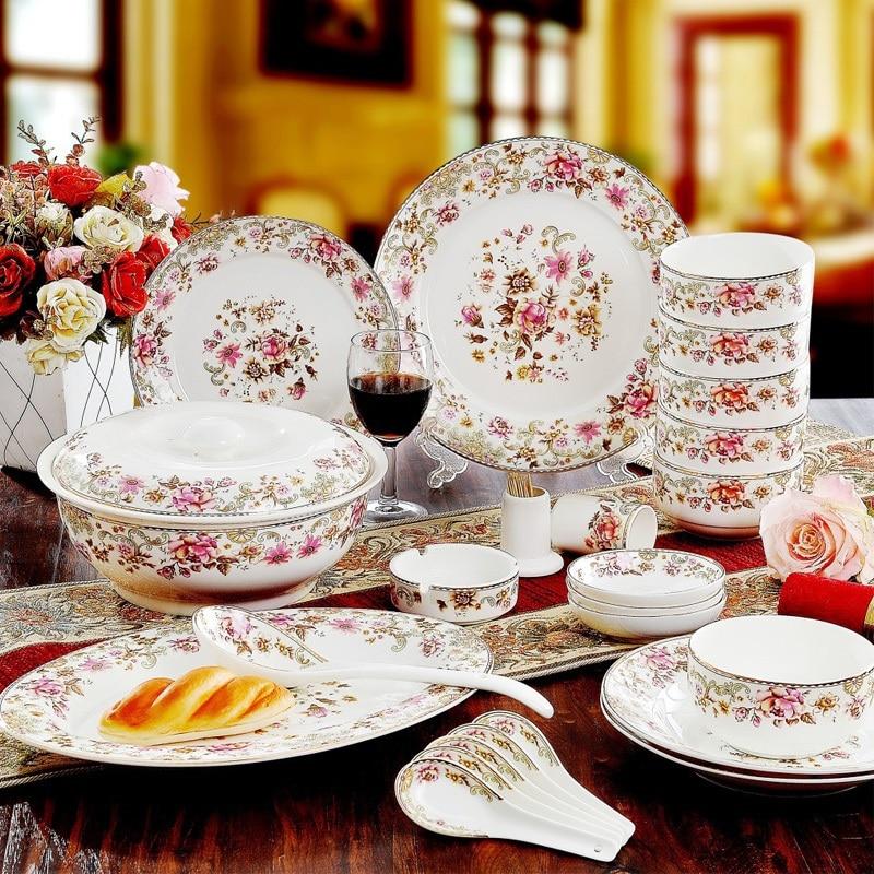 Wedding Gift China: Jingdezhen 56pieces Skull Porcelain Tableware Set Dishes