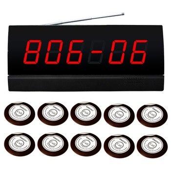 Sistema de exibição de alarme sem fio para 10 quartos. exibição mostrando tanto número número da sala ou na cama. 10 pcs sino e 1 pc exibição