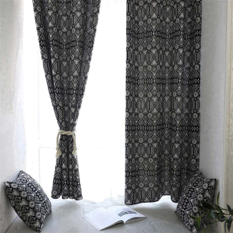 Cotton Canvas Black Eyelet Lined Curtain: Black Nordic Style Linen Cotton Blackout Curtains For