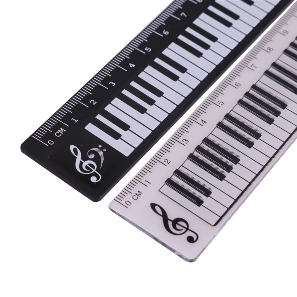 2 Pcs Black OR Transparent 15cm Straight Ruler Piano Pattern Plastic Material Student Creative Stationery Measuring Tools