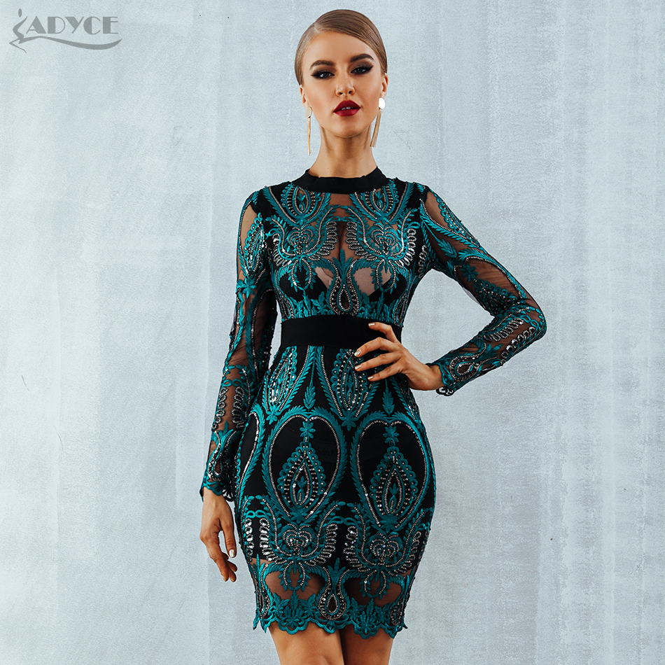 6ef066bf0ff40 ADYCE Celebrity Party Sequin Dress Women 2018 New Long Sleeve Backless Sexy  Mesh Hollow Out Mini Luxurious Club Dresses Vestidos-in Dresses from  Women's ...