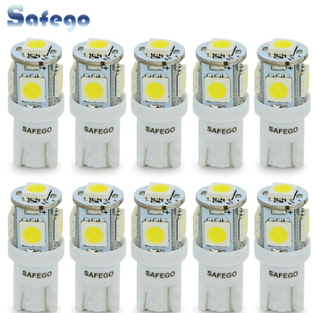 Safego 10pcs T10 W5W 5050 194 168 LED Car Bulbs 5SMD White Blue Red Yellow Green LED Wedge Clearance Lamps DC 12V Super Bright 10pcs t10 w5w cob led canbus white yellow red super bright car light 194 168 38led parking bulbs backup reverse for brake lamps