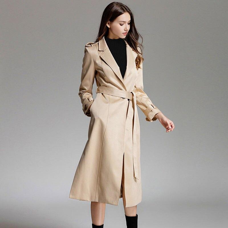 Femmes Élégant De Solide Femelle Printemps Tranchée Kaki Style Satin Dames Luxe Street Pardessus Manteau Mode Outwear Long Automne rY7qaxnCwr