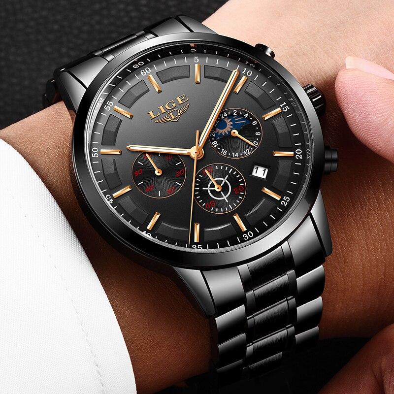 Mode hommes montres LIGE Top marque étanche Sport montre chronographe hommes décontracté en acier inoxydable Quartz horloge Relogio Masculino 4