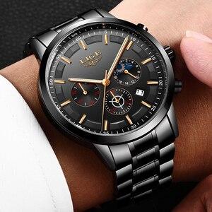 Image 5 - Mode hommes montres LIGE Top marque étanche Sport montre chronographe hommes décontracté en acier inoxydable Quartz horloge Relogio Masculino